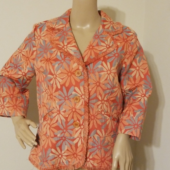 Monroe&Main Orange Floral Print Jacket